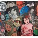 HOME. acrylique sur 24 toiles - Taille globale : 6m X 1m20
